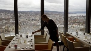 &quot;Clouds&quot; restaurant at the Prime Tower office building in Zurich