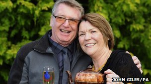 Mr and Mrs Whitmore and their teapot (John Giles/PA)