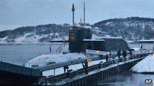 The Yekaterinburg nuclear submarine  docked near Murmansk (December 2010)