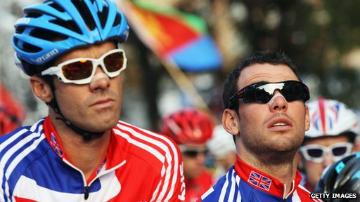Mark Cavendish with team mate David Millar