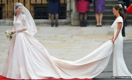 Kate Middleton and sister Pippa arrive at Westminster Abbey for the royal wedding