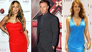 Mariah Carey, Gary Barlow and Liz Hurley