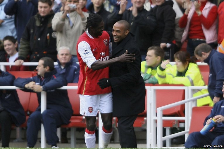 Image result for Emmanuel Adebayor with Thierry Henry