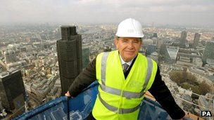 Gerald Ronson at the top of the Heron Tower