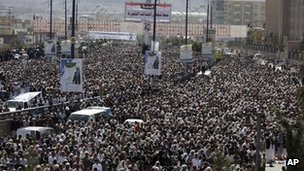Protesters opposed to President Ali Abdullah Saleh in Sanaa, Yemen - 30 December 2011