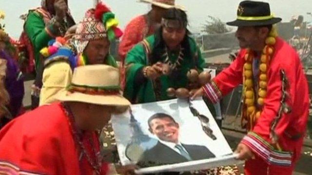 Shamans perform rituals in Peru