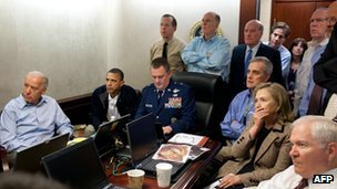 Situation Room of the White House during the Osama Bin Laden raid