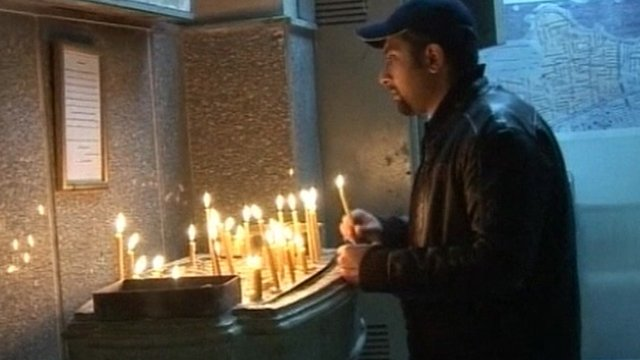 A Christian remembering the victims of the church attack