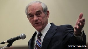 Ron Paul speaks during a town hall meeting in Council Bluffs, Iowa on 29 December 2011