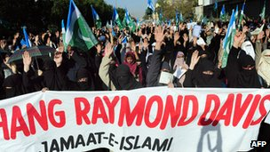 Protest against the release of CIA contractor Raymond Davis during a protest in Karachi in March 2011