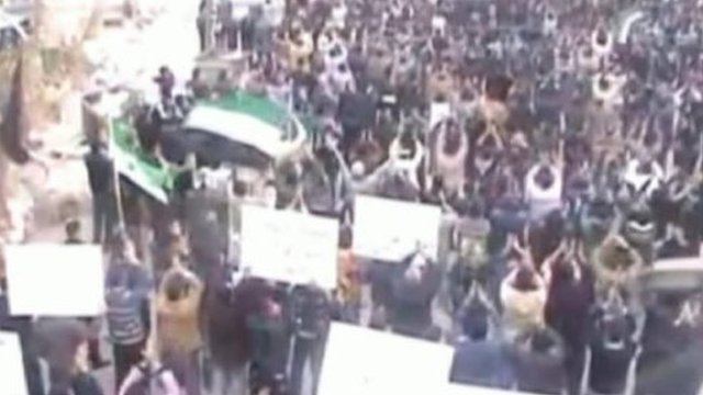 Crowd of anti-government protesters in Syria.
