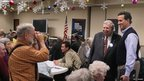 Former Pennsylvania Senator Rick Santorum visits a senior centre in Davenport, Iowa 29 December 2011