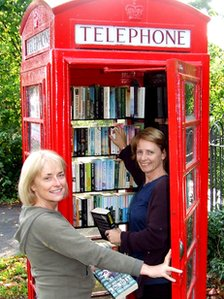 Red phone box turned into Little Eaton village library (UK)