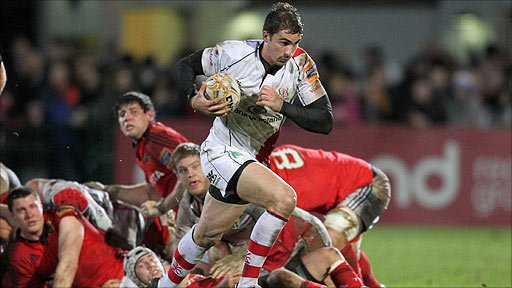 Fly-half Ruan Pienaar in action for Ulster against Munster at Ravenhill