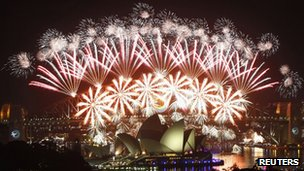 Sydney fireworks display welcoming in 2012