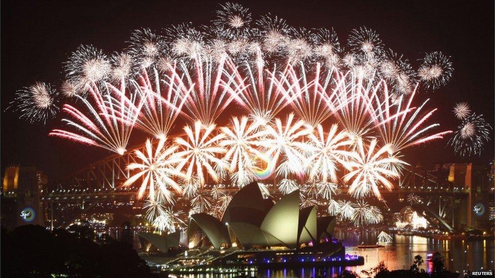 Fireworks behind Sydney Opera House