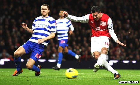 Robin van Persie scores for Arsenal against QPR