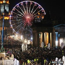 New Year revellers fill Princes Street in Edinburgh during Saturday's Hogmanay celebrations