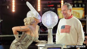 Lady Gaga and NYC Mayor Michael Bloomberg in Times Square
