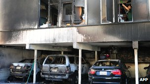 Damage caused by an arson attack to an apartment block and car port in Hollywood, California, on 30 December 2011