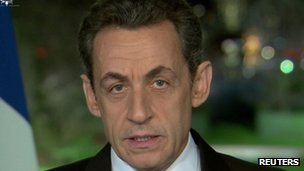 French President Nicolas Sarkozy gives his New Year's address - 31 December 2011