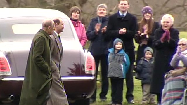 The Duke of Edinburgh (far left) is applauded by well-wishers