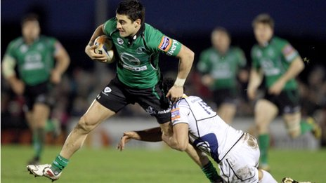 Connacht wing Tiernan O&#039;Halloran is tackled by Isa Nacewa