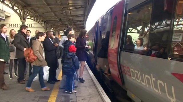 Train and passengers on platform