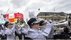 A marching band in Piccadilly Circus