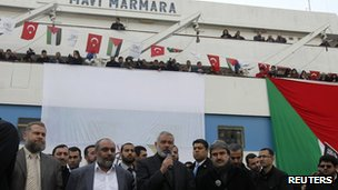 Ismail Haniya delivers a speech in front of the Mavi Marmara in Istanbul on 2 January 2012