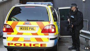 Armed police outside Manchester magistrates' court