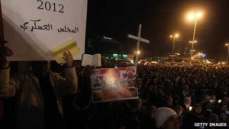 People celebrating New Year&#039;s eve at Tahrir Square, Cairo