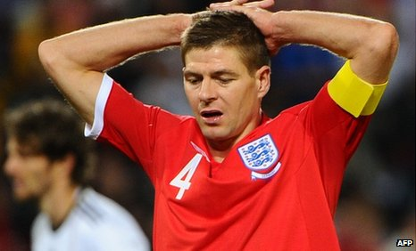 Steven Gerrard shows his disappointment after England's World Cup quarter-final defeat by Germany