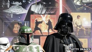 Darth Vader (right) launches a new US stamp in 2007