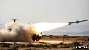 Launch of the shore-to-sea Qader missile by Iran's navy in southern Iran on 2 January 2012