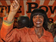 Portia Simpson-Miller at her victory rally in Kingston on 29 December 2011
