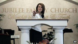 Minnesota Congresswoman Michele Bachmann speaks at a church in Oskaloosa, Iowa 1 January 2012