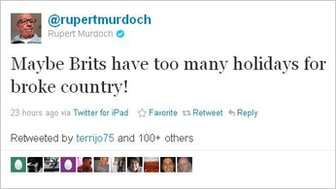 Screengrab of Mr Murdoch's comment about Brits