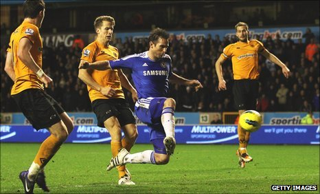 Frank Lampard steers in his 89th-minute winner