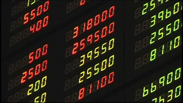 A board displaying stocks at Seoul's main stock market.