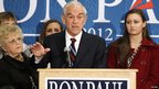 Texas Representative Ron Paul delivers a campaign speech in Des Moines, Iowa, 2 January 2012