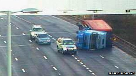 A lorry has blown over on the Kingston Bridge in Glasgow in violent winds