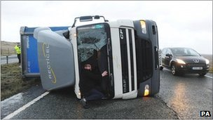 A lorry on its side in County Durham