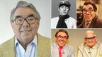 Ronnie Corbett in person (left), in The Frost Report (top middle), Sorry (top right) and The Two Ronnies (bottom right)