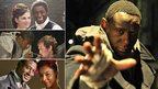 David Harewood with Hayley Atwell in The Ruby in the Smoke (top left), with Jonas Armstrong in Robin Hood (middle left), with Sophie Okonedo in Mrs Mandela (bottom left) and in Frankenstein's Wedding: Live in Leeds (right)