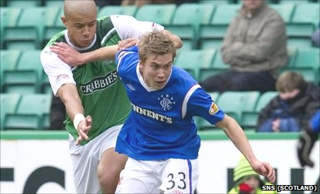 Thomas Bendiksen in action at Easter Road