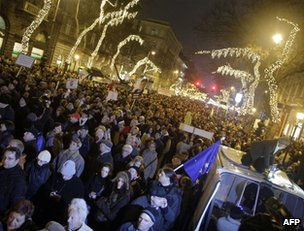 Hungarians protest about the new constitution in Budapest, 2 January