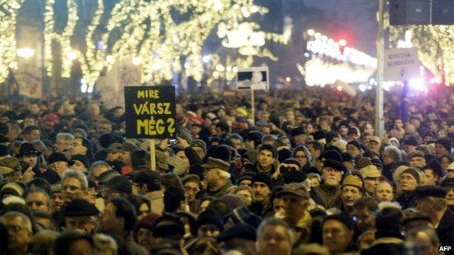 Protesters in Budapest on 2 January, 2012