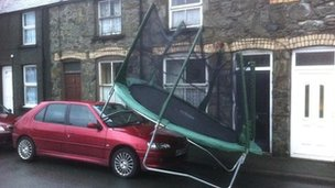 Trampoline blown onto car in Bala. Pic: Dylan Vaughan Evans