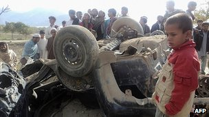 Roadside bomb attack in Alingar district of Laghman province, Afghanistan. Nov 2011